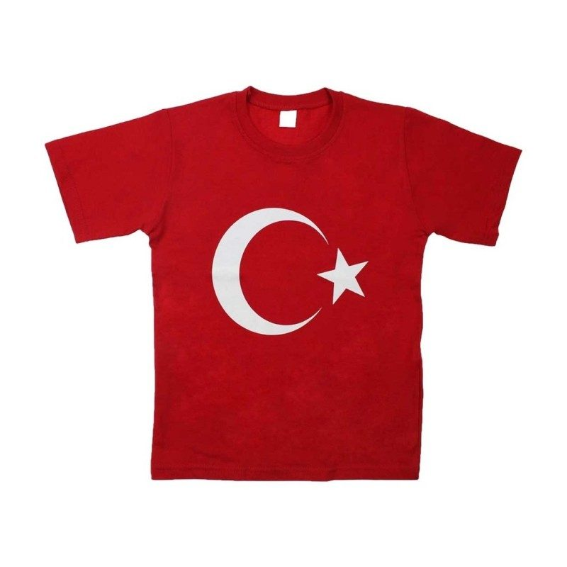 Ay Yıldız Baskılı Kırmızı Tişört – 23133
